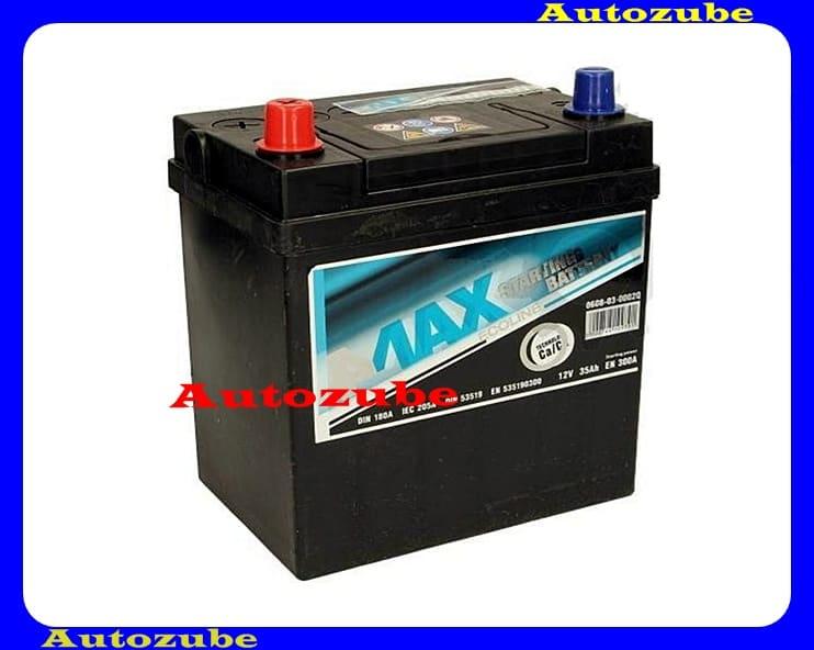 4MAX Akkumulátor 12V 35Ah/300A bal+, JAPÁN vékony pólus, H:187mm Sz: 127mm M:227mm