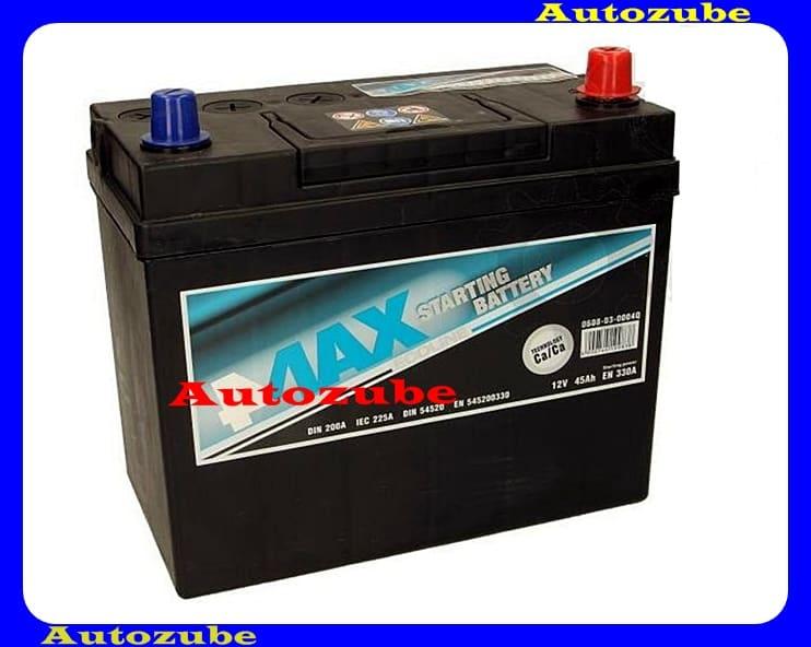 4MAX Akkumulátor 12V 45Ah/330A jobb+, JAPÁN vékony pólus, H:238mm Sz: 129mm M:227mm