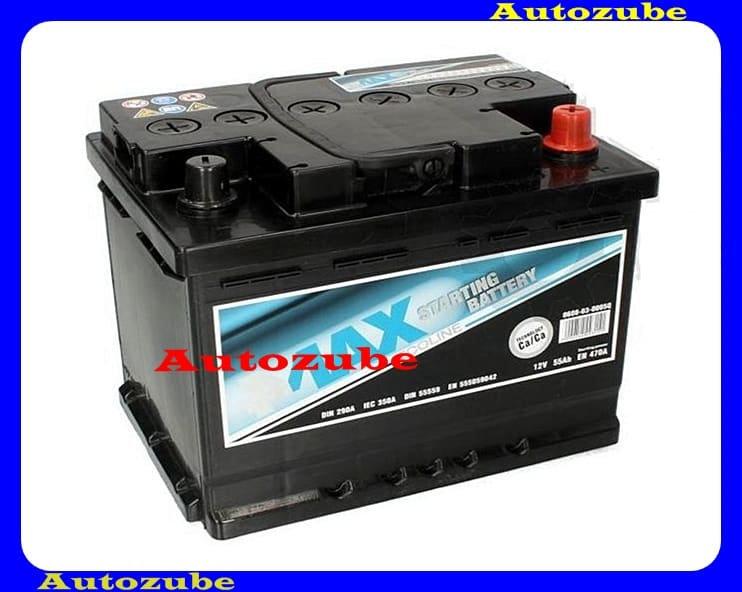 4MAX Akkumulátor 12V 55Ah/470A jobb+, H:249mm Sz: 175mm M:190mm