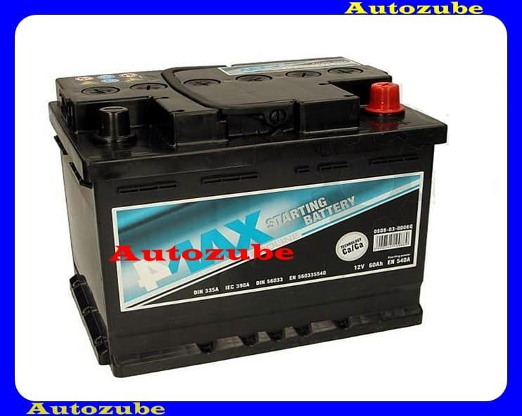 4MAX Akkumulátor 12V 60Ah/540A jobb+, H:242mm Sz: 175mm M:190mm