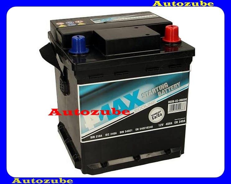 4MAX Akkumulátor 12V 40Ah/340A jobb+, H:175mm Sz: 175mm M:190mm