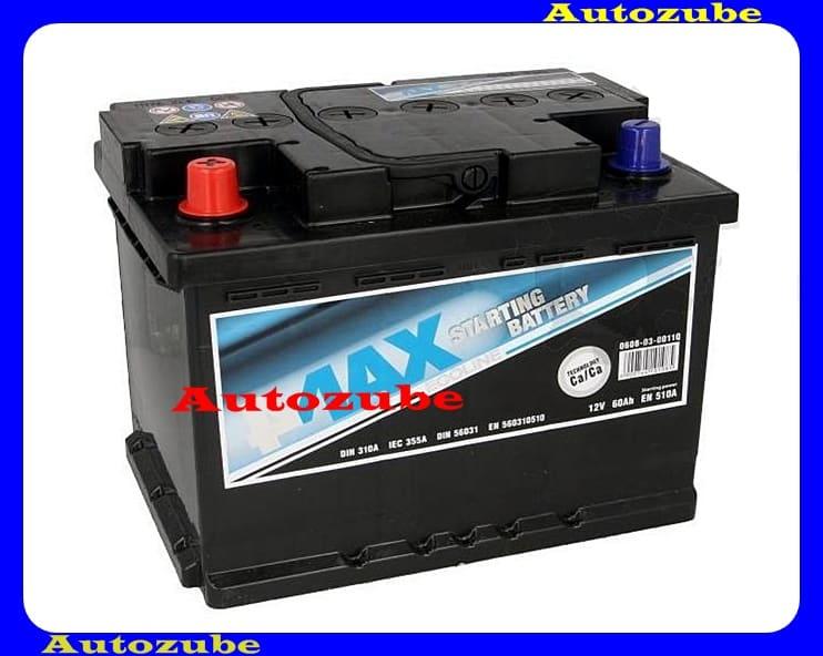 4MAX Akkumulátor 12V 60Ah/510A bal+, H:242mm Sz: 175mm M:190mm