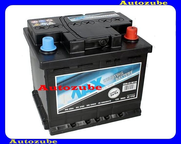 4MAX Akkumulátor 12V 50Ah/470A jobb+, H:210mm Sz: 175mm M:190mm
