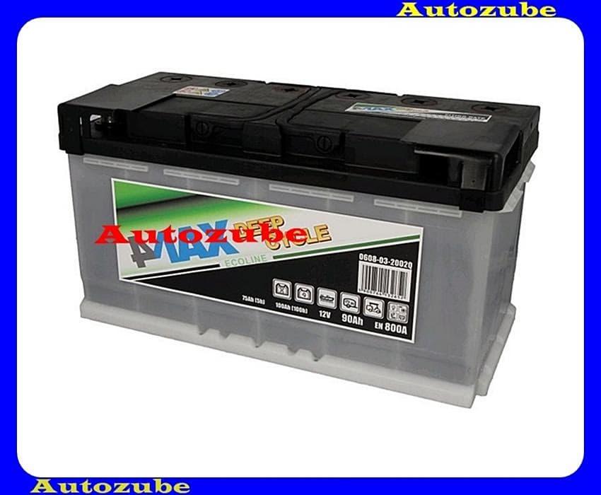 4MAX Akkumulátor 12V 90Ah/600A jobb+, H:353mm Sz: 175mm M:190mm /Pótkocsi, motorcsónak, generátor/ EFBBattery energy [Wh]: 630, 4MAX