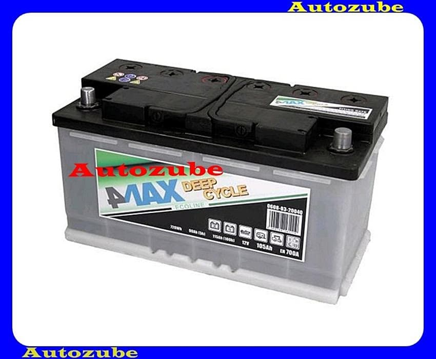 4MAX Akkumulátor 12V 105Ah/700A jobb+, H:353mm Sz: 175mm M:190mm /Pótkocsi, motorcsónak, generátor/ EFBBattery energy [Wh]: 700, 4MAX