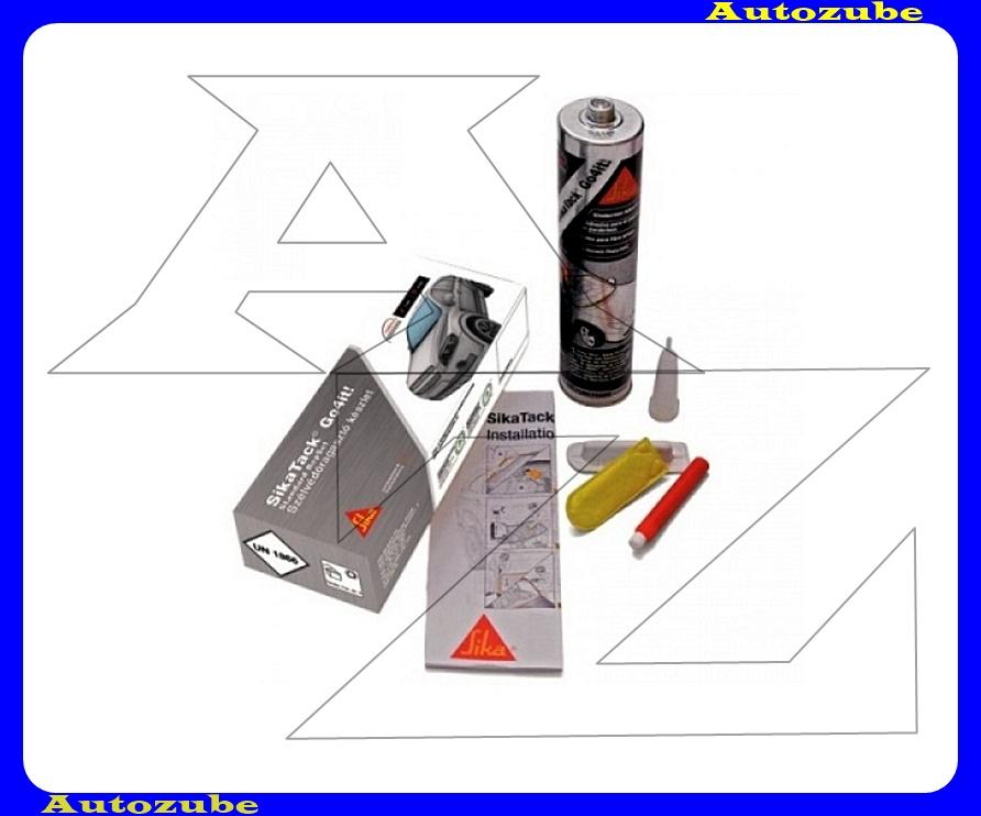 Szélvédőragasztó. 4 órás,hidegen feldolgozható, egykomponensű. SIKATACK GO4IT. 300mL készlet (aktívátor,primer,kivágódrót)