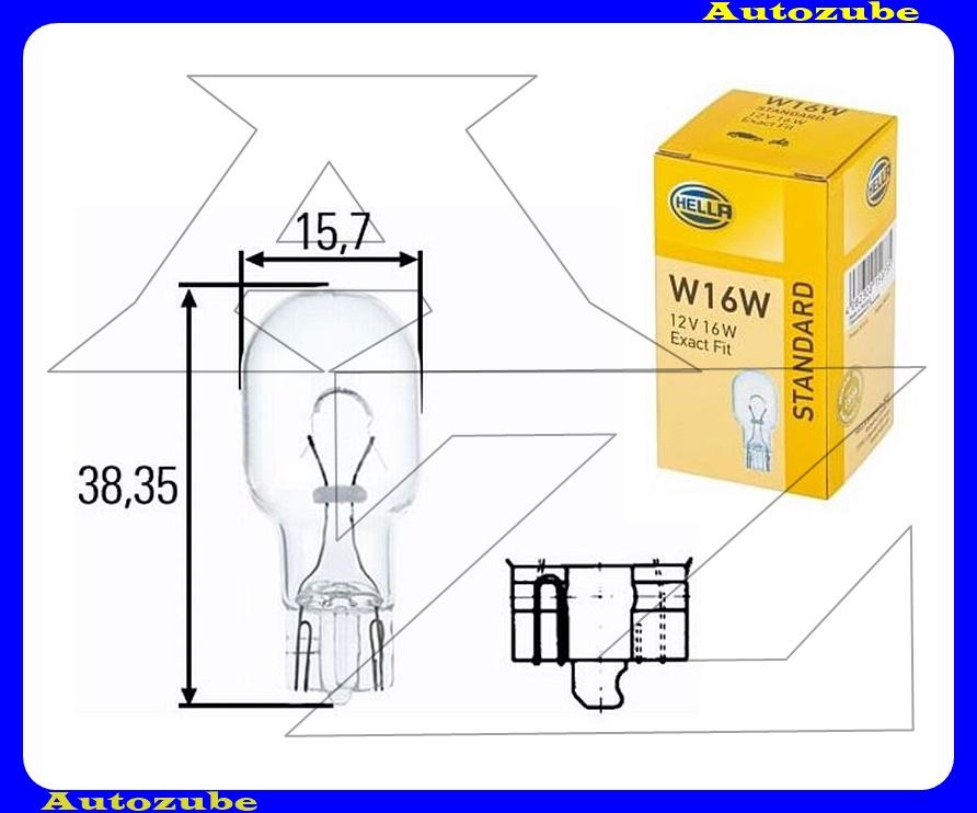 Izzó W16W,  12V_16W   (W2,1x9,5d) üvegtalpas {HELLA}