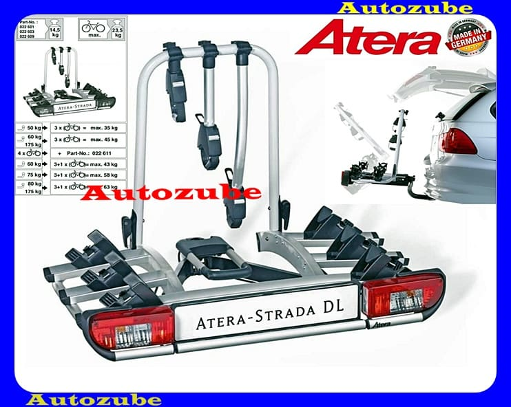 Hátsó kerékpártartó vonóhorogra, 3db kerékpárhoz ATERA STRADA DL