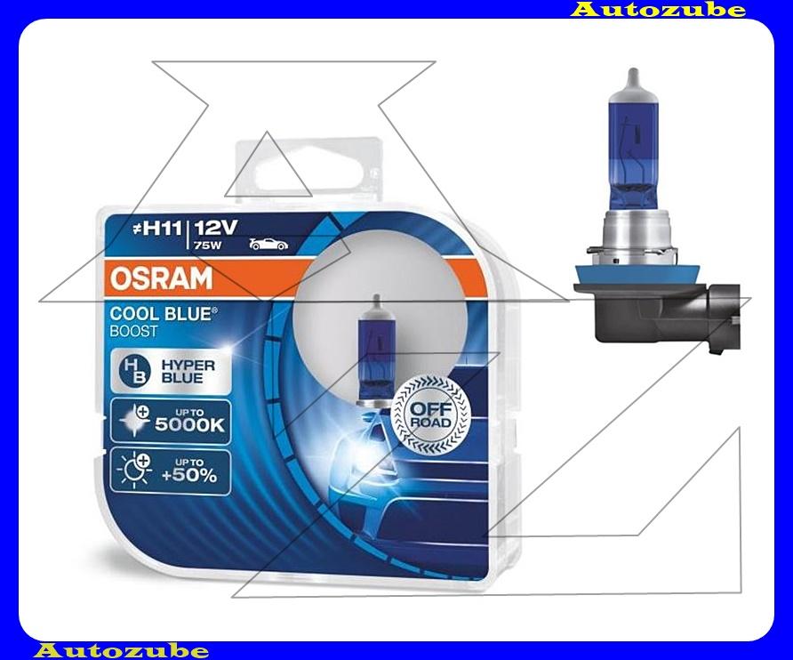 Izzó szett H11 12V_75W +50% Cool Blue Boost (2db) Színhőmérséklet 5000K, Fényerő 1100 lm {OSRAM}