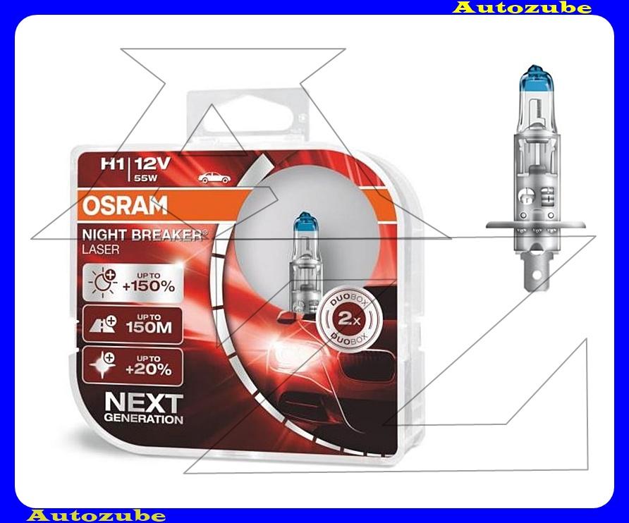 Izzó szett H1 12V_55W +150% Night Breaker Laser (2db) +150 méter távolság +20% fehérfény Színhőmérséklet 3500K Fényerő 1500 lm {OSRAM}