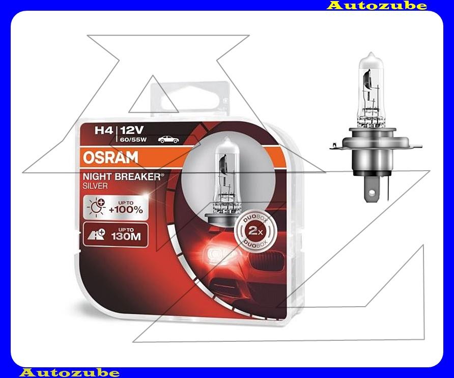 Izzó szett H4 12V_60/55W +100% Night Breaker Silver (2db) +130 méter távolság Színhőmérséklet 3300K Fényerő 1500 lm {OSRAM}