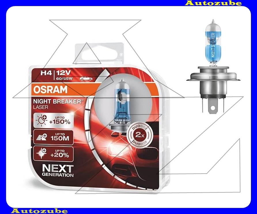 Izzó szett H4 12V_60/55W +150% Night Breaker Laser (2db) +150 méter távolság +20% fehérfény Színhőmérséklet 3500K Fényerő 1500 lm {OSRAM}