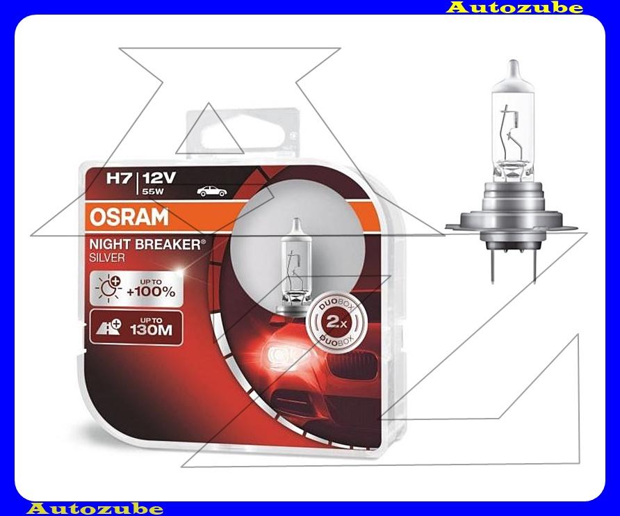 Izzó szett H7 12V_55W +100% Night Breaker Silver (2db) +130 méter távolság Színhőmérséklet 3300K Fényerő 1500 lm {OSRAM}