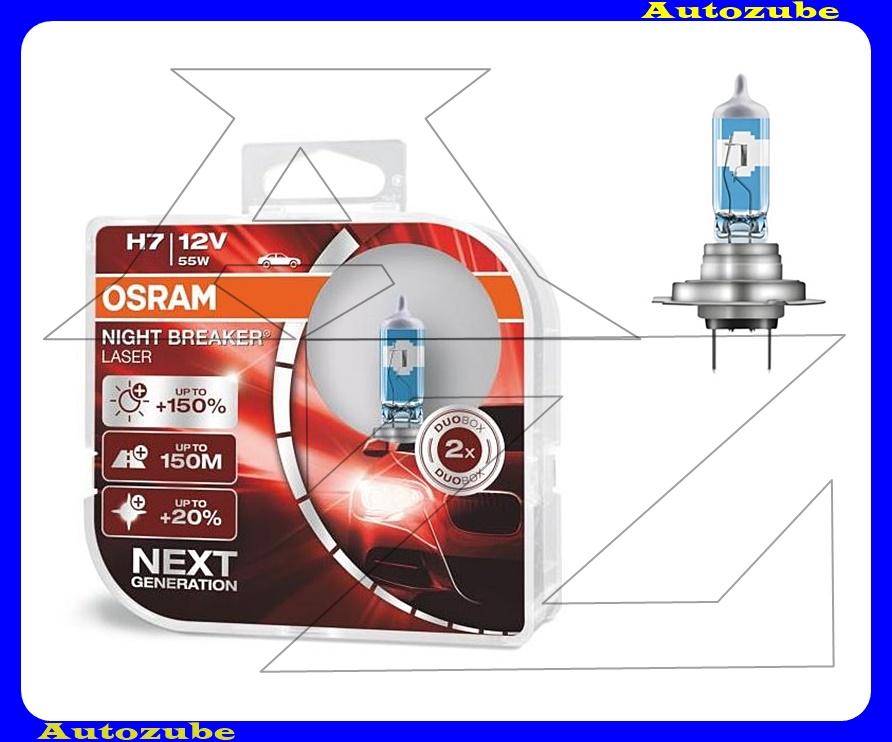 Izzó szett H7 12V_55W +150% Night Breaker Laser (2db) +150 méter távolság +20% fehérfény Színhőmérséklet 3500K Fényerő 1500 lm {OSRAM}