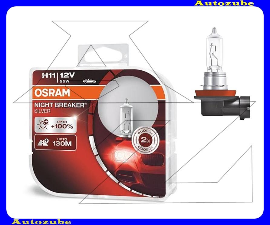 Izzó szett H11 12V_55W +100% Night Breaker Silver (2db) +130 méter távolság Színhőmérséklet 3300K Fényerő 1500 lm {OSRAM}