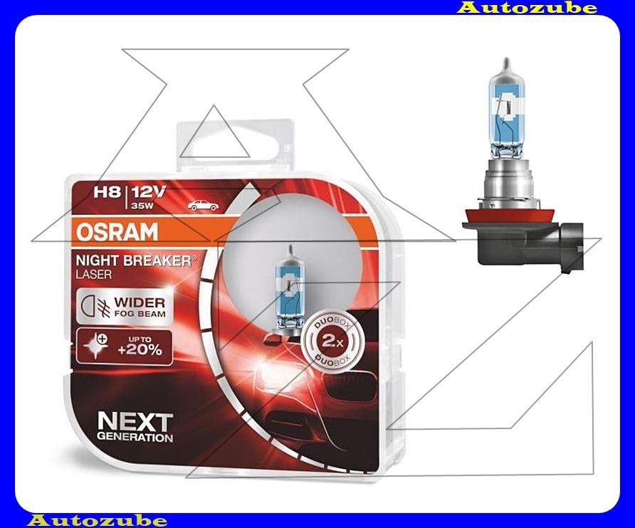 Izzó szett H8 12V_35W +150% Night Breaker Laser (2db) +150 méter távolság +20% fehérfény Színhőmérséklet 3500K Fényerő 1500 lm {OSRAM}