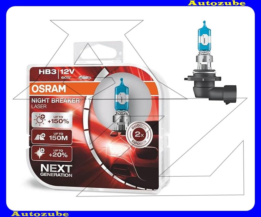 Izzó szett HB3 12V_60W +150% Night Breaker Laser (2db) +150 méter távolság +20% fehérfény Színhőmérséklet 3500K Fényerő 1500 lm {OSRAM}