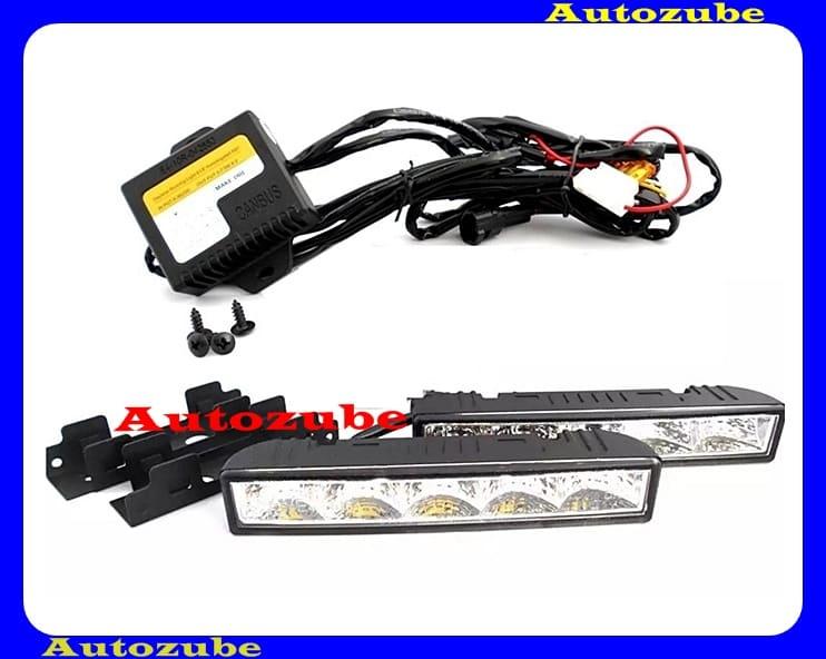 Nappali fény szett, univerzális LEDx 4db. ON-OFF vezérlővel, E szabványos (szerelési útmutatóval) méret : szélesség: 148mm, magasság: 27mm, mélység: 32mm. SMP