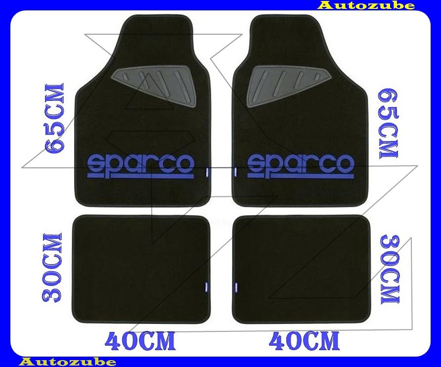Autószőnyeg szett - Univerzális - textil/gumi (kék)  (2db első/65x40cm + 2db hátsó/30x40cm) SPARCO
