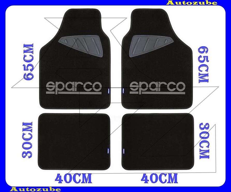 Autószőnyeg szett - Univerzális - textil/gumi (szürke)  (2db első/65x40cm + 2db hátsó/30x40cm) SPARCO