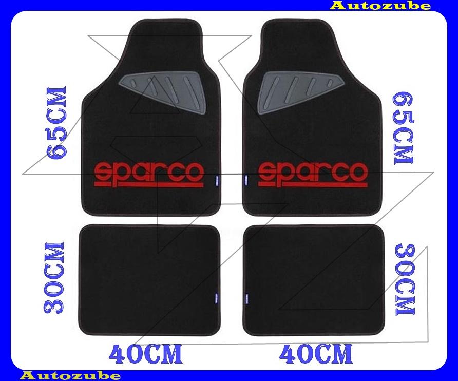 Autószőnyeg szett - Univerzális - textil/gumi (piros)  (2db első/65x40cm + 2db hátsó/30x40cm) SPARCO