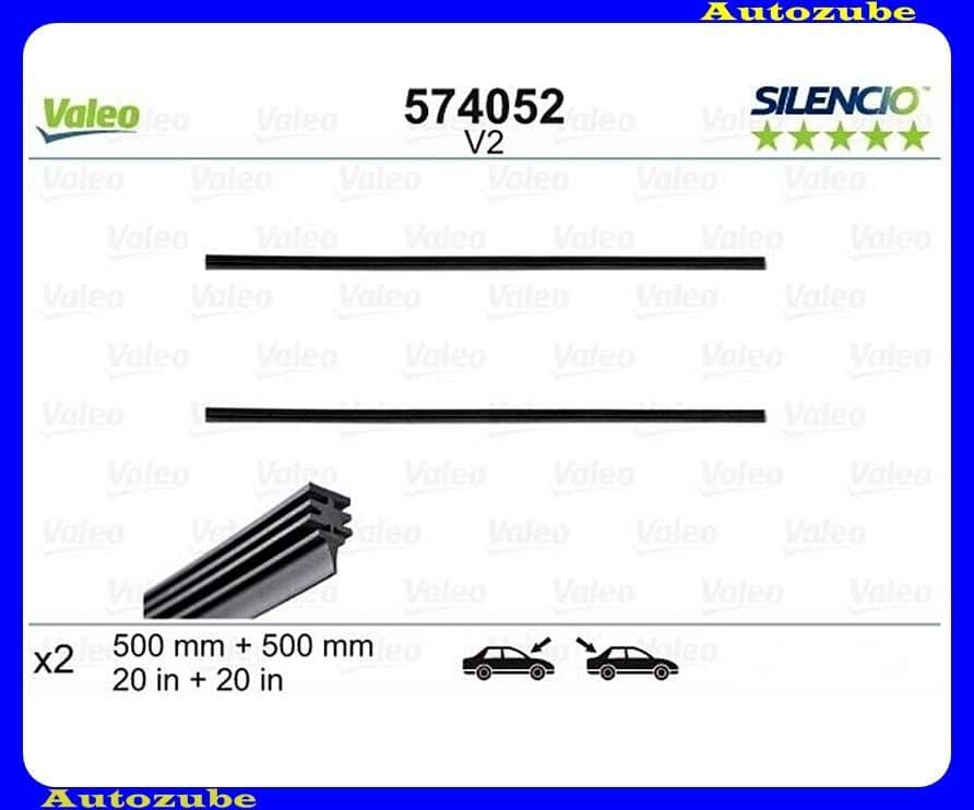 Ablaktörlő gumi Hátsó. 2db/500-500mm (V2)  {VALEO} SILENCIO REFILLS