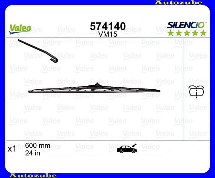 Ablaktörlő lapát első oldalfüggetlen (integrált mosófuvókával) 1db/600mm (VM15)  {VALEO} SILENCIO PERFORMANCE