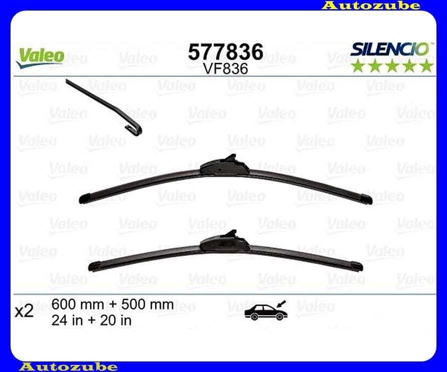 Ablaktörlő lapát szett első 2db/650-500mm (VF836)  {VALEO} SILENCIO X-TRM