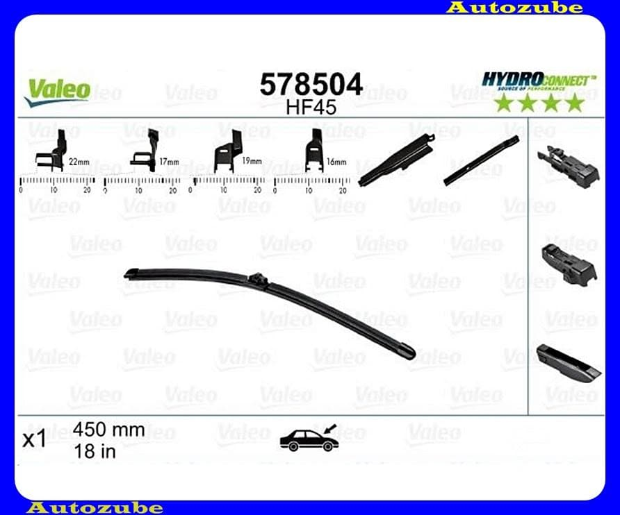 Ablaktörlő lapát utas oldal 1db/450mm (HF45)  {VALEO} HYDROCONNECT